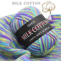 Hilo de lana de algodón suave para tejer a mano, 23 colores, 50g