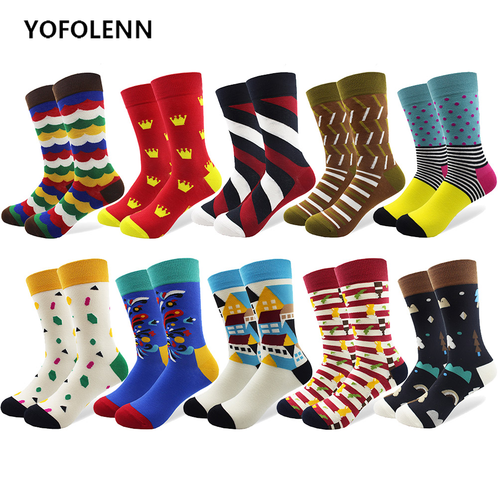 10 Pair/lot Men Socks Combed Cotton Colorful Happy Funny Sock for Man Long Tube Casual Dress Wedding Art Party Socks Cool