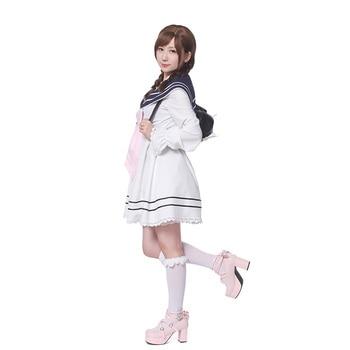 ROLECOS Fashion and Lovely Bowknot Design Sailor Uniform Comfort Slim-cut Women Lolita Dress Chiffon School Uniform Costumes 2
