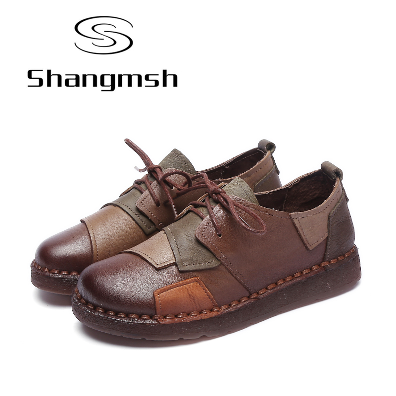 Shangmsh Women Flat Shoes Solid Round Toe Genuine Leather Casual Shoes Black Brown Hand-Sewing Female Moccasins Women Shoes front lace up casual ankle boots autumn vintage brown new booties flat genuine leather suede shoes round toe fall female fashion
