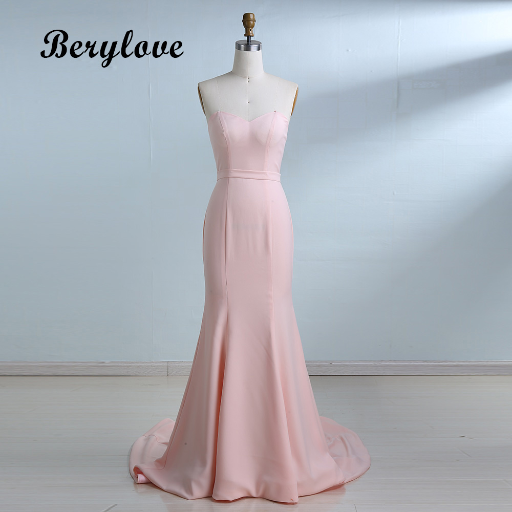 BeryLove Simple Mermaid Blush Pink Evening Dresses Long Sweetheart ...