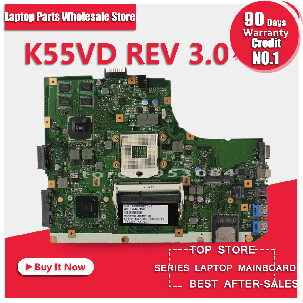 NEW! Non-Integrated Laptop Motherboard for ASUS K55VD r500vd REV 3.0 GT610M 2GB USB3.0 N13M-GE1-S-A1 HM76 PGA989 DDR3 100% Test ytai k55vd rev 3 1 mianboard for asus k55vd k55a laptop motherboard hm76 integrated graphic card 2 ddr3 usb3 0 mainboard