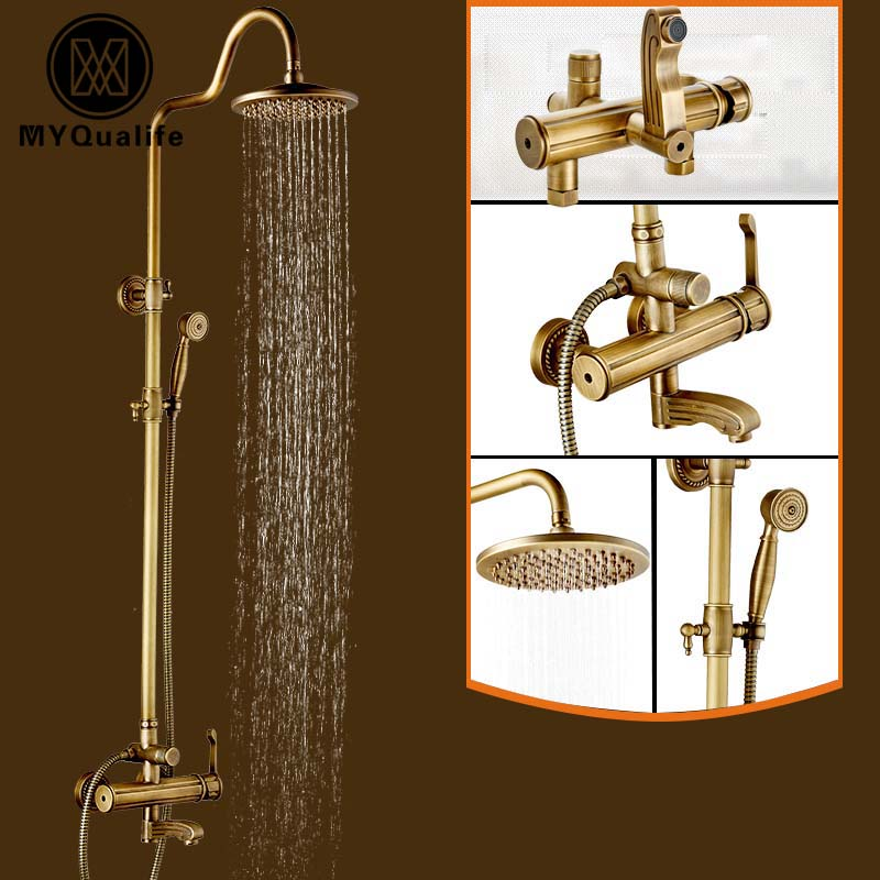 ▻Artistic Wall Mount Shower Faucet Set Single Handle Brass Anitque ...