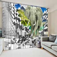2017 الباندا الفيل الطباعة الرقمية 3d لغرفة المعيشة تعتيم ستائر غرفة النوم cotinas الفقرة سالا