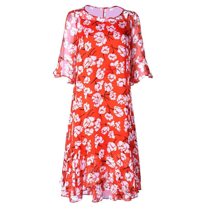 Longues Grande Floral Pour En Fleur Plage Décontracté Les Bohème Soie Été Femmes 456 Rouge De Printemps Robes Mousseline Robe Vintage 2019 Taille Xl pgpqwfP