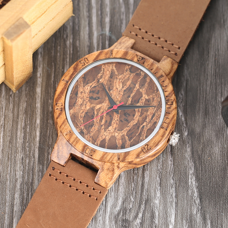 Creative Simple Wood Watches Men's ZebraCork SlagBroken Leaves Face Wrist Watch Original Wooden Bamboo Male Clock Relogio 2017 2018 Christmas Gifts (11)