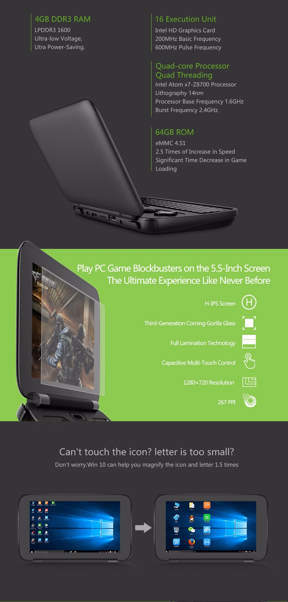 GPD Win 5.5 inch Game Console Intel Atom X7 Z8700 Windows 10 OS 4G64GB Quad Core 2.4GHz Gorilla Glass 1280720 - Black18