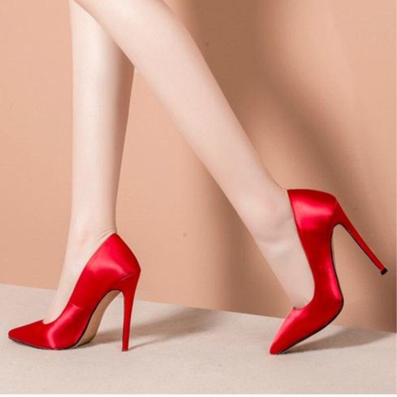 Spitz Heel Schuhe Mode Versand 12 Cm Kostenloser Hochzeit schwarzes Schuhe Schöne rot Beige Stoff Shofoo High Pumpen Satin gPwqvw