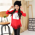 2016 new children letter t-shirt girl scout fashion Beaded sequined tassels T-shirt 3-6-10 years old baby clothes red pink T