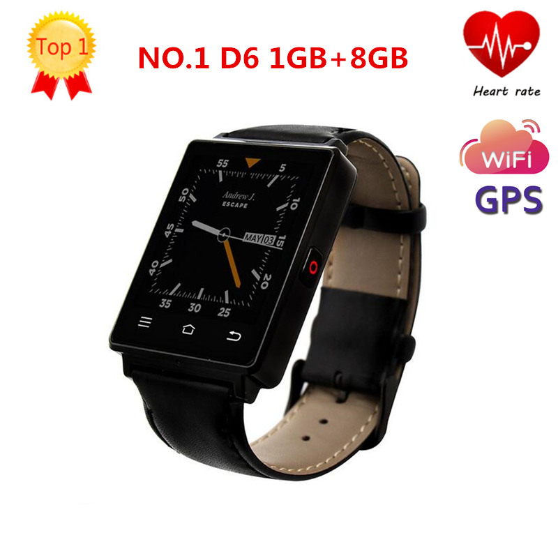 Fashion NO.1 D6 1.63 inch 3G MTK6580 Quad Core 1GB RAM 8GB ROM Smartwatch Phone GPS WiFi Bluetooth 4.0 Heart Rate Monitor цена