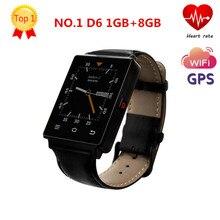 Fashion NO.1 D6 1.63 inch 3G MTK6580 Quad Core 1GB RAM 8GB ROM Smartwatch Phone GPS WiFi Bluetooth 4.0 Heart Rate Monitor