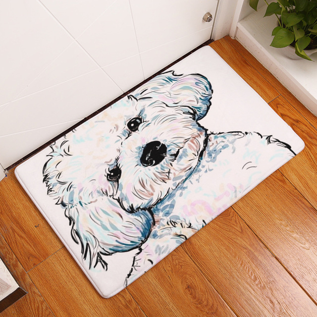 Cammitever Oil Painting Entrance Carpets Cartoon Dog Printed Carpet