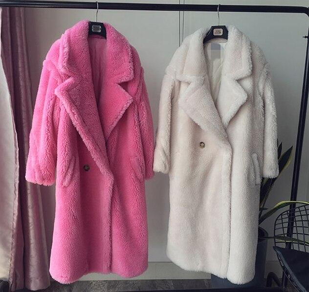 2018 натуральный мех пальто Повседневное длинная парка зимняя куртка Для женщин Натуральная шерсть овец стрижке меха уличная Завышение толс