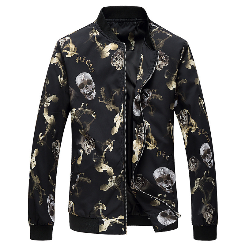 2018 Autumn Spring Outerwear jackets men casual Coats Slim fit men army Skull pattern jacket