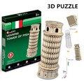 3d puzzle cubicfun arquitetura modelo de papelão brinquedo mundialmente famosa torre inclinada de pisa edifício montagem diy brinquedos para as crianças
