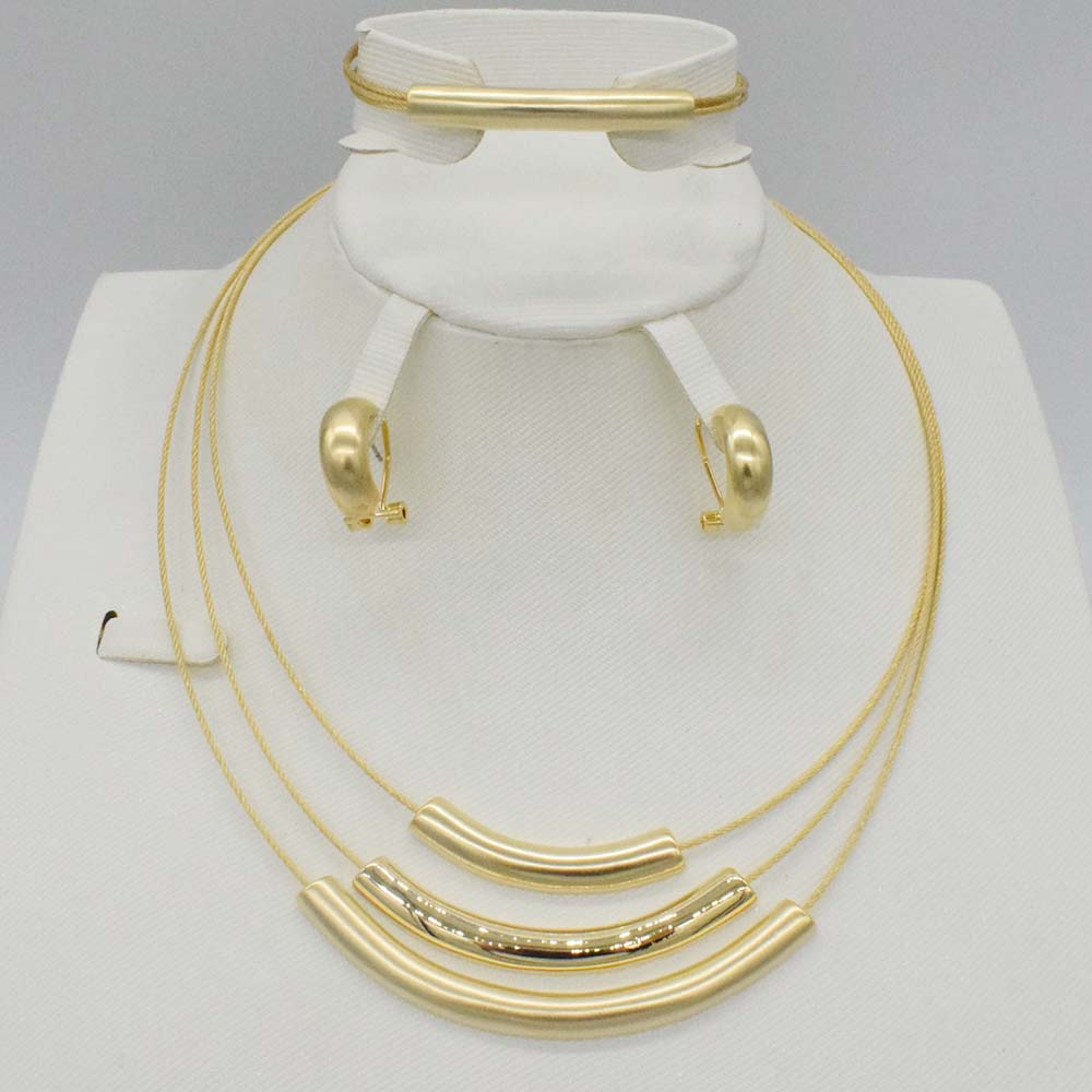 New High Quality set Dubai African 18k  real Gold Plated 3color set Fashion Wedding Bridal Costume Jewelry Sets party  Wedding