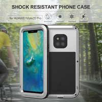 Per Huawei Compagno di 20 Pro Cassa Del Telefono Dura Del Metallo di Alluminio Della Copertura Heavy Duty Protezione Dello Schermo In Vetro Temperato Protector mate20 20pro