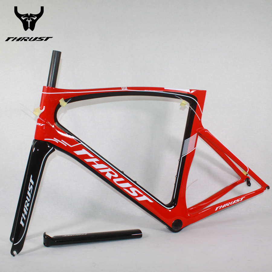 THRUST Carbon Road Frame 490 5200 540 560 580 mm Carbon Frame Road PF30 with Adpter Carbon Bike Frame Road Bicycles Red 8 Color wholesale 2017 newest thrust carbon road frame carbon road bike frame