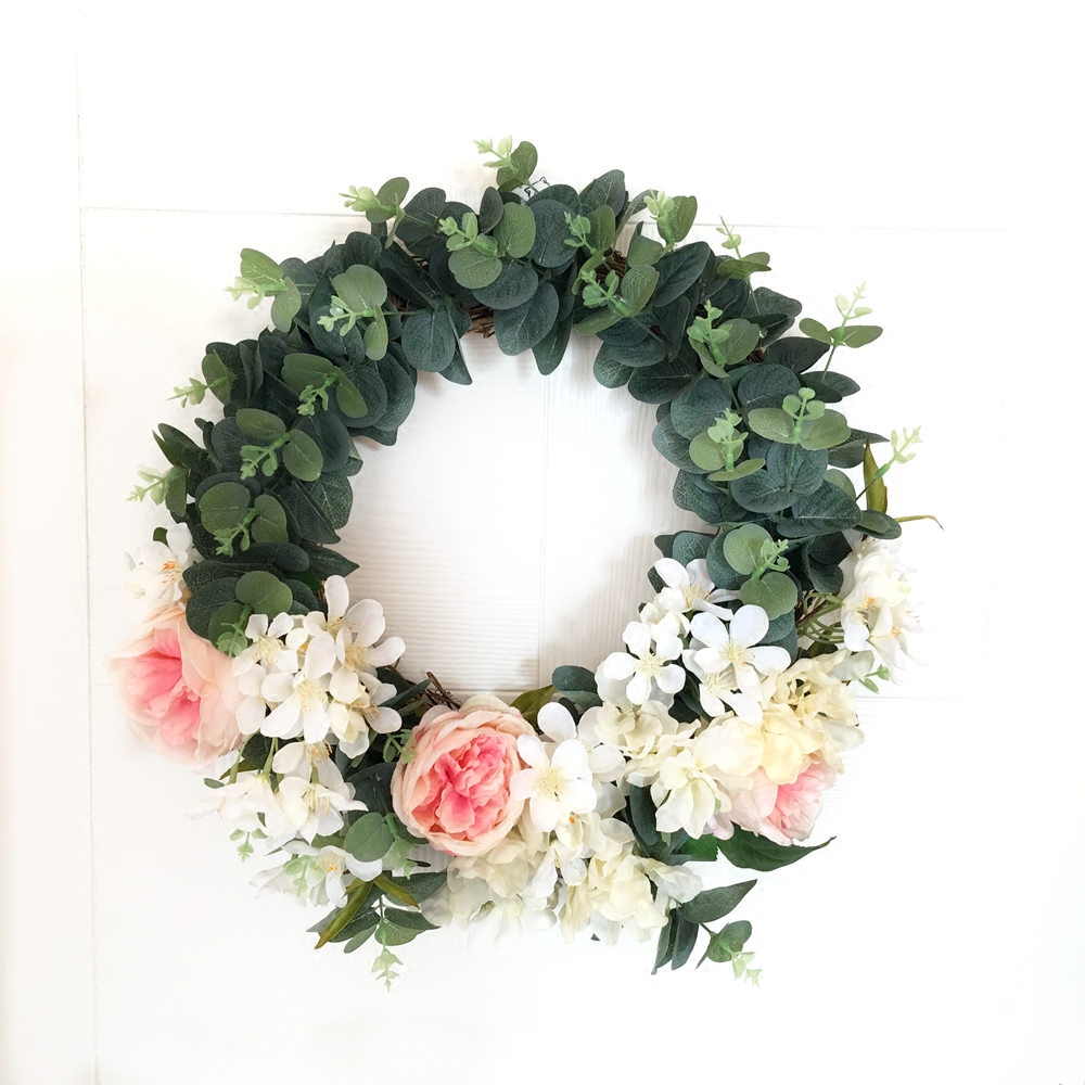 Artificial flower PU Rose Silk Peony Cherry Green plant Uruguay wreath garland door lintel mirror flower wedding decoration