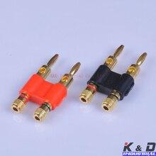 2pairs Combine Banana Plug Dual Speaker Jack Black & Red Audio HIFI Amp High End