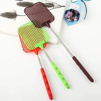 1pc nowe trwałe muchy Swatter plastikowy prosty wzór wielokrotnego użytku Fly Swatter Pest Control Widget chowany domowy przyrząd kuchenny tanie i dobre opinie Random Color Stainless steel + plastic