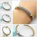 New Brand Fashion Silver Gold Cable Wire Chain Womens Mens Cuff Bangle Stainless Steel Bracelet Unisex Jewelry Hot