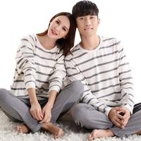 2019 New 100% Cotton Carton Fashion Women Long Sleeve Sleepwear Suit 2 Piece Spring Autumn Home Lounge Couples Pajamas Sets