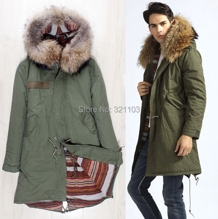 Italy style Mr fur big brown collar long style lamb liner parka, male long warm fur hooded winter jackets and coats