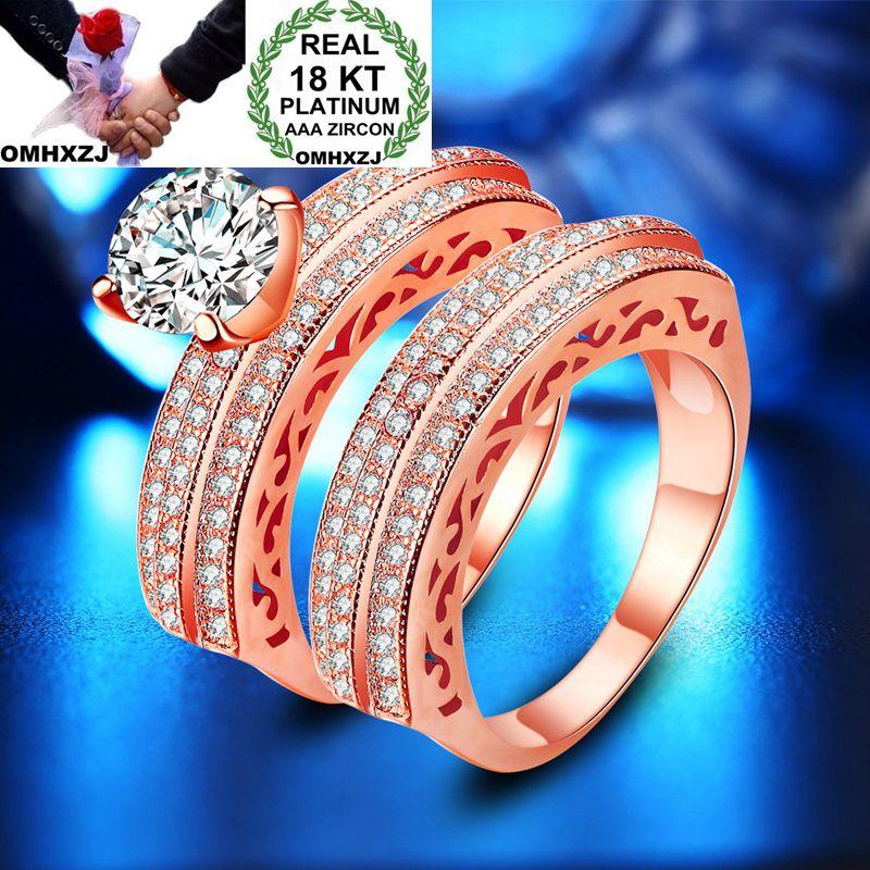 OMHXZJ Wholesale Personality Fashion Woman Girl Party Wedding Gift Luxury AAA Zircon 18KT Rose Yellow White Gold Ring Set RN102