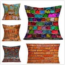 Funda de cojín de pared de ladrillo pintada en colores acuosos funda de almohada cama coche Hotel impresión planta de decoración del hogar sofá Vintage moderno cojín