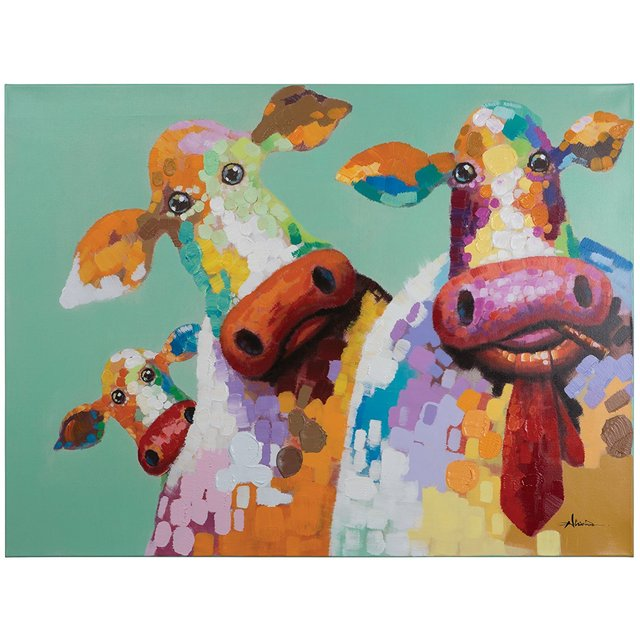 Yosemite Home Decor ARTAC0583C Curious Cows Acrylic Painting in     Yosemite Home Decor ARTAC0583C Curious Cows Acrylic Painting