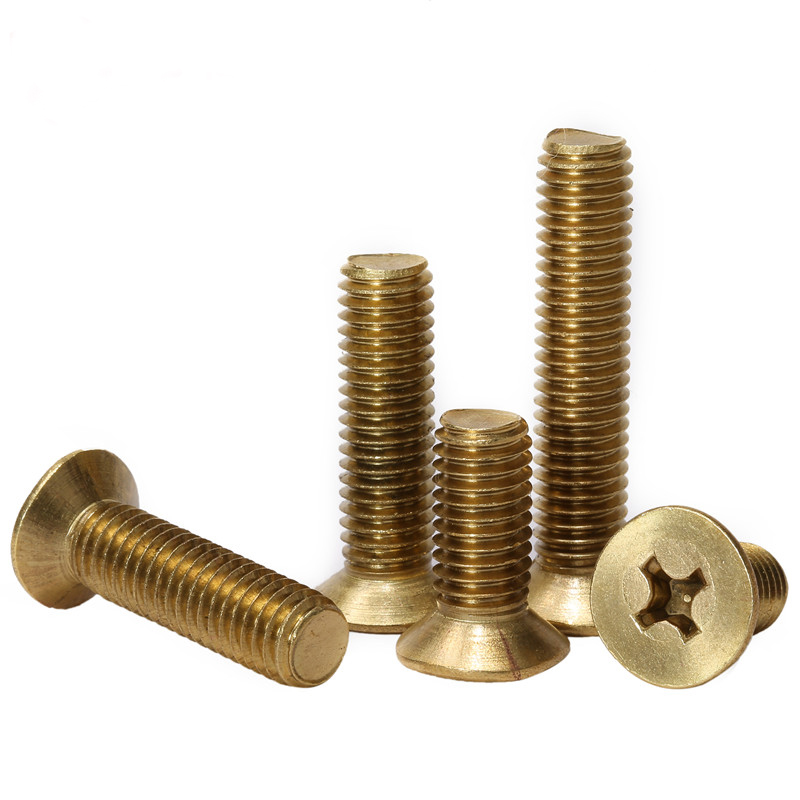Phillips Brass Flat Head Machine Screw Metric Thread Cross Recessed Copper Countersunk Metal Bolt Standard Hardware M5 M6 in Screws from Home Improvement