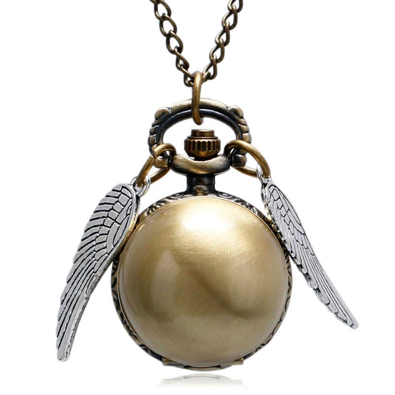 Steampunk Wings Men Women Quartz Pocket Watch Ball Shape Chains Fobs Watches Golden Black Silver With Necklace Chain Cute Gifts