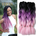 10 piece Ombre Kanekalon Braiding Hair braid Synthetic purple pink High Temperature Fiber Kanekalon Jumbo Braid Hair Extensions