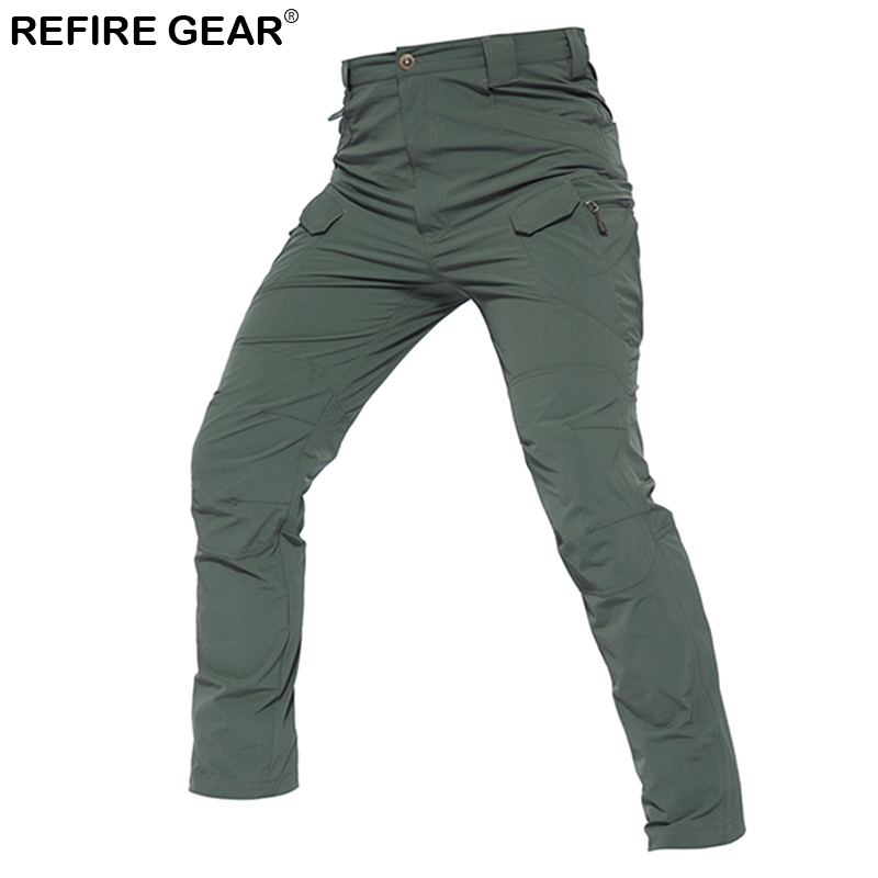 ReFire Gear Outdoor Quick Dry Lightweight Pants Men Summer Breathable Stretch Hiking Cargo Pants Many Pockets Camping Trousers