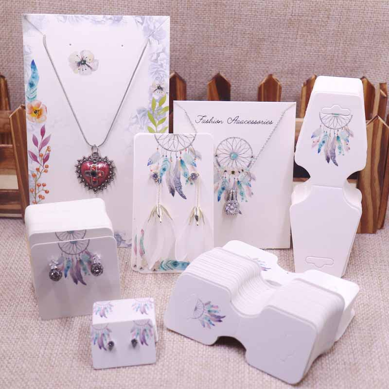 100pcsDreamcathcer Jewelry Set Package Cards Paper Necklace/bracelet/hair Ornaments Display Tag Card Stud/drop Earring Tag Cards
