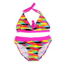 2019 New Girls Swimsuit Two Pieces Stripe Swimsuit 8-16 Years Girls Split Two-pieces Children #8217 s Swimwear Stripe Bathing Suit G8 cheap XABER KIN Polyester striped Fits true to size take your normal size