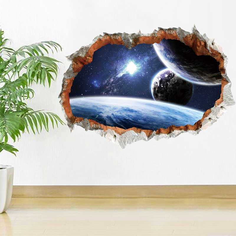 Outer Space Planet Decorative Wall Stickers 3D Effect Broken Wall Decorations Galaxy Mural Art Decal