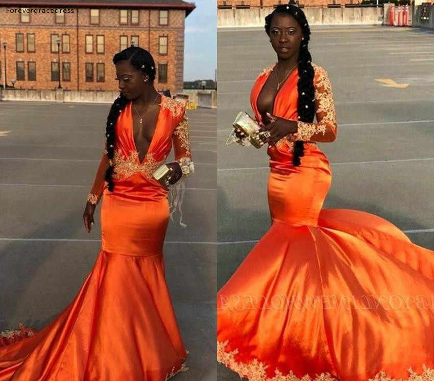 South African Black Girls Prom Dresses 2019 Orange Color Deep V Neck  Holidays Graduation Wear Party Gowns Plus Size Custom Made