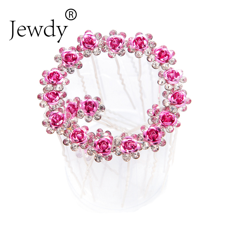 Jewdy 20pcs/set rhinestone rose flower bright crystal hairpins fashion pave hair clip hair jewelry for women wedding hair pins button