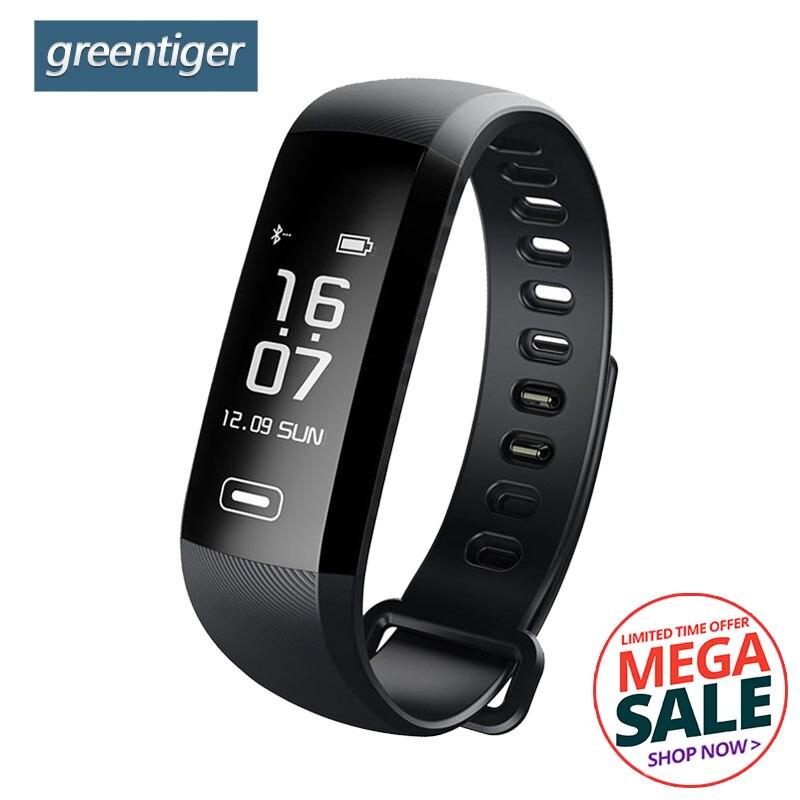 Greentiger M2 Pro R5MAX pulsera inteligente 50 palabras información pantalla monitor de ritmo cardíaco sangre oxígeno presión arterial banda inteligente