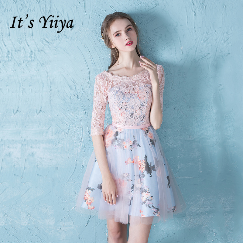 It's YiiYa   cocktail     dress   knee length Lace Floral Print Lace Dinner   Dress   Fashion Designer Formal   Dress   Party Gown LX177