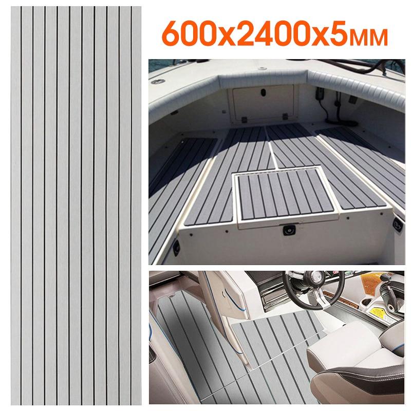 Autoadhesivo 600x2400x5mm suelo marino falso teca gris con líneas negras EVA espuma cubierta bote Accesorios