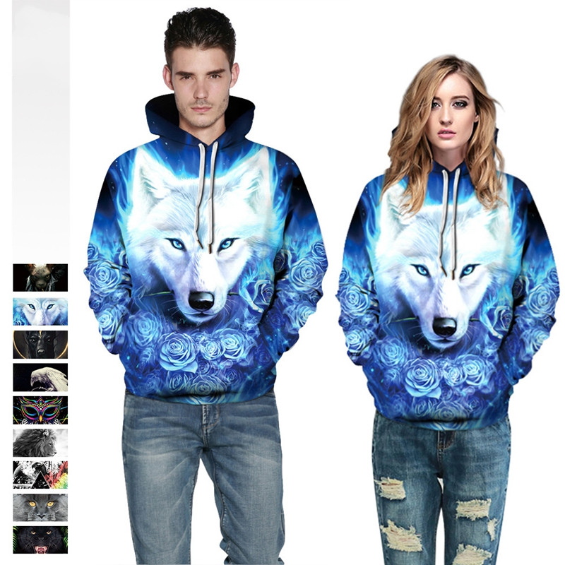 Blue Wolf 3D Printed Sweatshirt Hip Hop Pullover Novelty Animal Streetwears