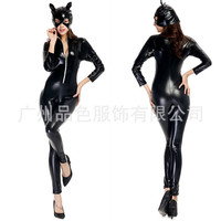 Catwoman Cosplay Jumpsuit Halloween Custumes Sexy Cat Faux Leather Costumes Halloween Masquerade Cosplay Costumes Club Party Set