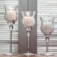 3 PCS Colum de Vidro Suporte de Vela Suporte de Vela de Cristal para Peças Centrais Do Casamento Candelabros de Cristal Moderna Vela Tigela Castiçal