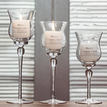 3PCS Glass Colum Candle Stand Modern Crystal Holder for Wedding Centerpieces Candelabra Bowl Candlestick