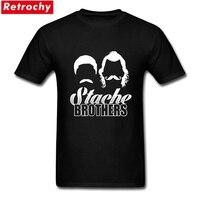 Retro Mężczyźni Stache Bracia Tee Koszule Krótkie Rękawy Bawełniana O-neck Rozrywka XXXL Facet T-shirt Kanter Indyka USA Gwiazda Adams