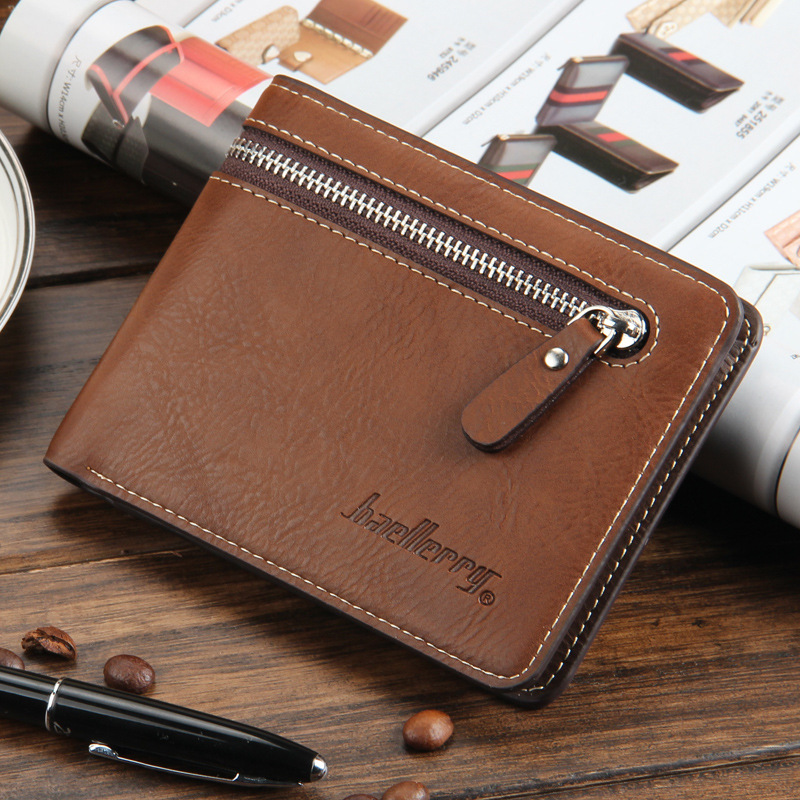все цены на Baellerry 11.11 Vintage Short Wallet Men Zipper Coin Pocket Card Holder Leather Man Wallet Money Bag Purse Male Clutch W117