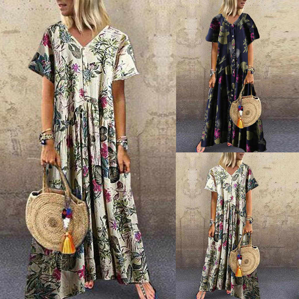 Beach Dress Women Vintage Bohemian Floral Print Button Short Sleeve V Neck Maxi Dress Спідниця на пляжі Jupe de plage